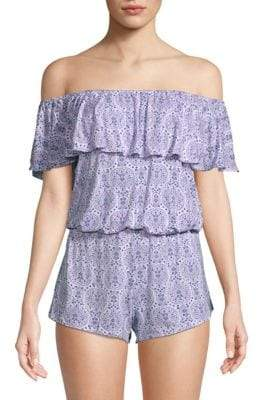 Eberjey Timba Two-Piece Off-The-Shoulder Pajama Set