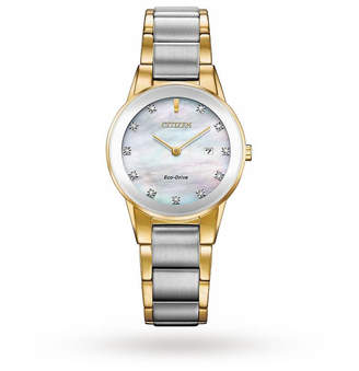 Citizen Eco-drive Gold Plated And Stainless Steel Diamond Ladies Watch GA1054-50D