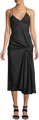 Jacquemus La Robe Samba Knotted V-Neck Midi Dress