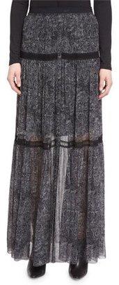Elie Tahari Arlington Tiered Printed Silk Chiffon Maxi Skirt $448 thestylecure.com