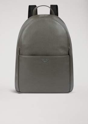 e8b64404f Emporio Armani Backpack In Boarded Leather With Front Pocket