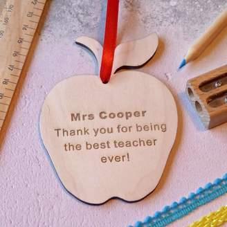 Sweet Pea Design Thank You Teacher Wooden Apple