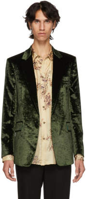 Paul Smith Green Crushed Velvet Runway Blazer