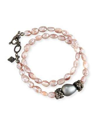 Armenta Peach Mystic Moonstone & Tahitian Pearl Bracelet with Diamonds