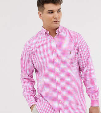 Big & Tall player logo gingham oxford button down shirt in pink
