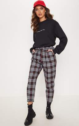 PrettyLittleThing Black Checked Casual Trousers