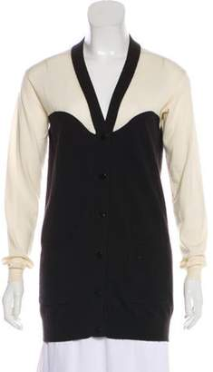 Stella McCartney Virgin Wool Plunging Neckline Cardigan Black Virgin Wool Plunging Neckline Cardigan