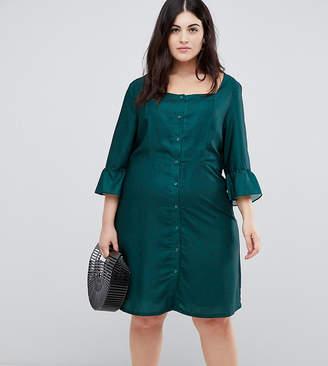 Glamorous Curve button down tea dress in polka dot