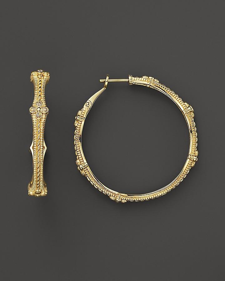 Judith Ripka 18K Gold Large Hoop Earrings with Diamond