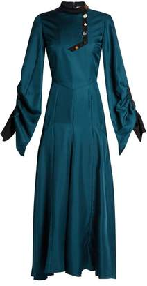 Roksanda Omari High Neck Ruched Sleeve Silk Twill Dress - Womens - Teal