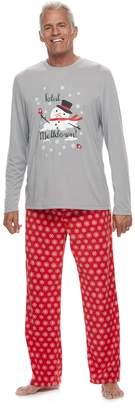 "Men's Jammies For Your Families Snowman & Snowflakes ""Total Meltdown"" Top & Microfleece Bottoms Pajama Set"