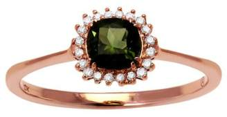 Private Label 10K Rose Gold Green Tourmaline & .08ct Diamond Ring Size 7
