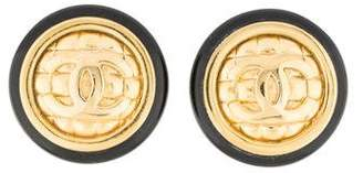 Chanel CC Quilted Resin Clip-On Earrings