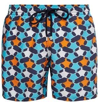Vilebrequin Moorea Geometric Turtle Print Swim Shorts - Mens - Orange Multi