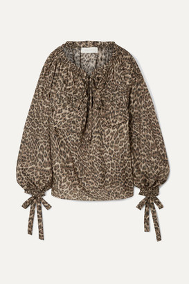 4fd49467be2d6f Zimmermann Suraya Gathered Leopard-print Silk-charmeuse Blouse - Leopard  print