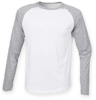 Skinni Fit Skinnifit Mens Raglan Long Sleeve Baseball T-Shirt (XS) (Oxford Navy/Heather Grey)