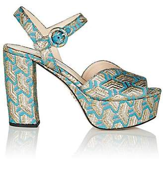 Prada Women's Metallic Brocade Platform Sandals - Pavone