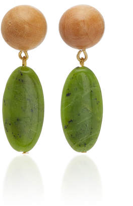Sophie Monet Aurora Gold-Plated Jade And Wood Earrings