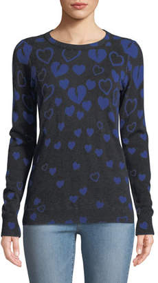Autumn Cashmere Inked Reversible Broken-Hearts Intarsia Sweater