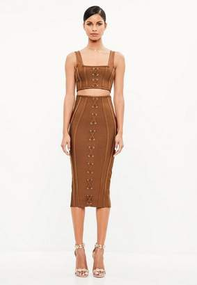 Missguided Brown Criss Cross Bandage Midi Skirt