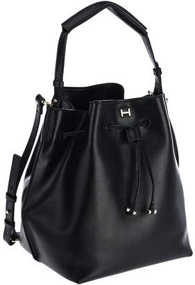 Halston H By H by Smooth Leather Drawstring Bucket Handbag