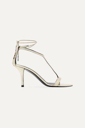 Stella McCartney Net Sustain Embellished Metallic Faux Leather Sandals - Gold