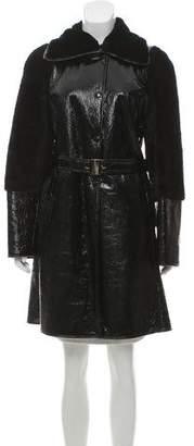 Emilio Pucci Shearling Patent Leather Coat