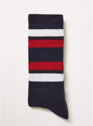 Topman Mens Navy With Red Stripe Socks