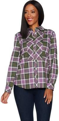 Denim & Co. Stretch Weave Plaid Button Front Long Sleeve Shirt