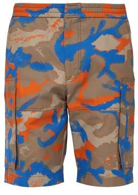 Valentino Camouflage Print Cotton Twill Cargo Shorts - Mens - Orange Multi
