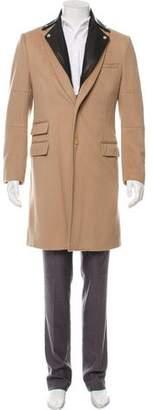 Public School Leather-Trimmed Wool Overcoat