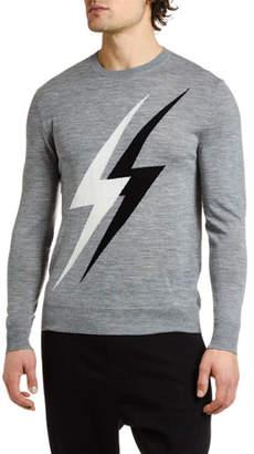 Neil Barrett Men's Lightning Bolts Crewneck Sweater