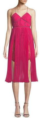Self-Portrait Pleated Chiffon Midi Cocktail Dress
