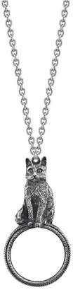 """2028 Pewter Cat Magnifying Glass Pendant Necklace 30"""""""