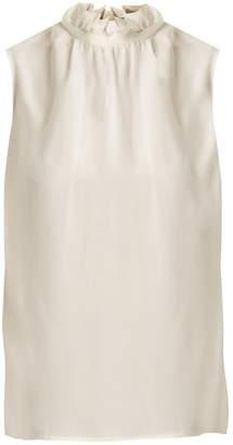 Goat Fenella ruffled-neck sleeveless silk top
