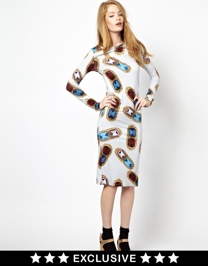 House of Holland Exclusive to ASOS Long Sleeve Dress in Oversized Gem Print - Multi