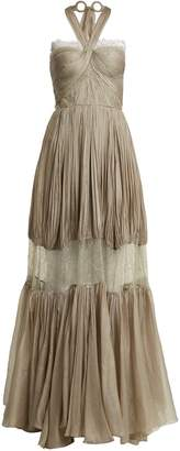 Maria Lucia Hohan Nerisse pleated-silk and lace dress