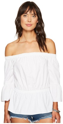 kensie - Oxford Shirting Off Shoulder Top KS6U4107 Women's Clothing $69 thestylecure.com