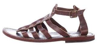 K Jacques St Tropez Leather Round-Toe Sandals