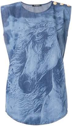 Balmain button-embellished denim blouse