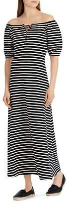 Ralph Lauren Striped Off-the-Shoulder Maxi Dress