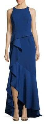 Adrianna Papell Hi-Lo Ruffled Crepe Gown