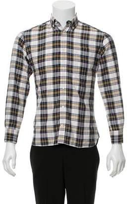 MAISON KITSUNÉ Silk-Blend Plaid Button-Up Shirt