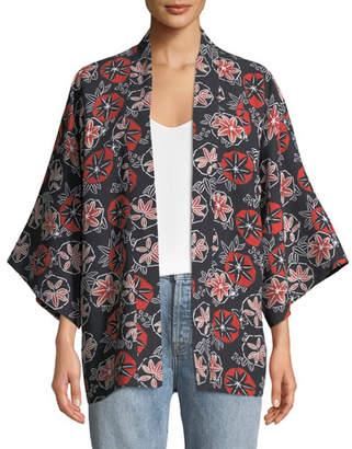 Elizabeth and James Drew Printed Open Tie-Front Kimono