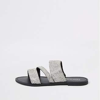 River Island Silver diamante embellished sandals