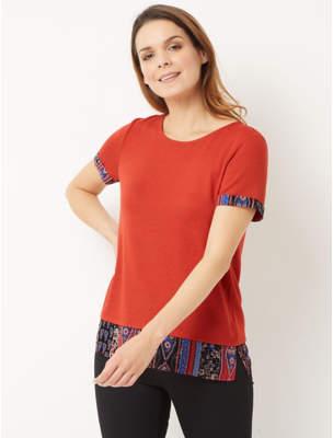 George Red Printed Mock Layer Top