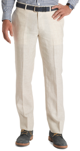 Brooks Brothers Milano Fit Ivory Plaid Linen Trousers