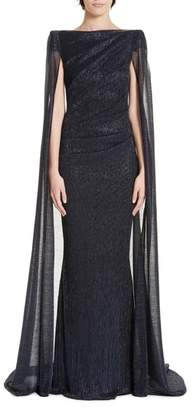 Talbot Runhof Cape Back Ruched Metallic Gown