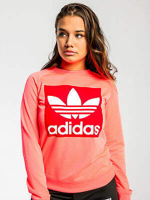 adidas New Trefoil Crew Sweater In Flash Red Womens Sweaters & Jumpers