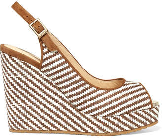 Jimmy Choo Prava 120 Suede-trimmed Woven Raffia Wedge Sandals - Brown